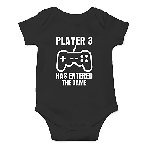 Crazy Bros Tee's Player 3 Has Entered The Game - Gamer Baby Funny Cute Novelty Infant One-Piece Baby Bodysuit (Newborn, Black)