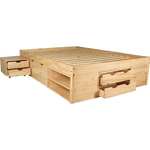 KMH®, Bett *Ina* aus massivem Pinienholz 200 x 140 cm/Mit Bettkasten, Nachttisch und Schubladen/Natur (#201122)