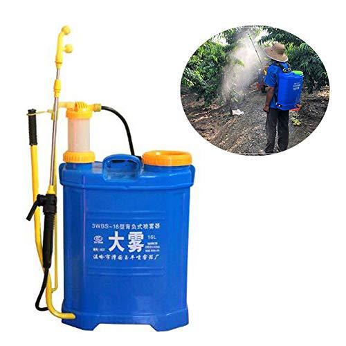 Pomp drukspuit Rugzak onder druk herbicide druk tuin Rugzakspuit met lang pistool en 2 verstelbare nozzles, handslinger (16L)