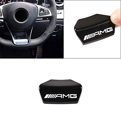 Camodifi Square volante sportivo in lega di zinco argento emblema del volante decalcomania decorazione distintivo AMG Logo per A B C E Class GLA CLA GLC GLS W213 W205 x253 (nero)