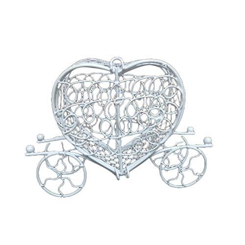 XPT Caja de dulces romántica de metal con corazón y amor, para cumpleaños, boda, chocolate, caramelo, caja de regalo, color blanco