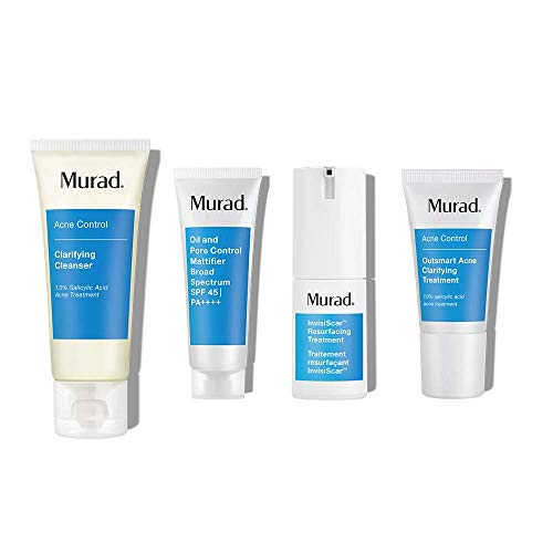 Murad 30-Day InvisiScar Acne Kit - Skin Care Kit with Full Size InvisiScar Resurfacing Treatment + 3 Trial Size Skin Care Products for Blemish and Breakout Prone Skin