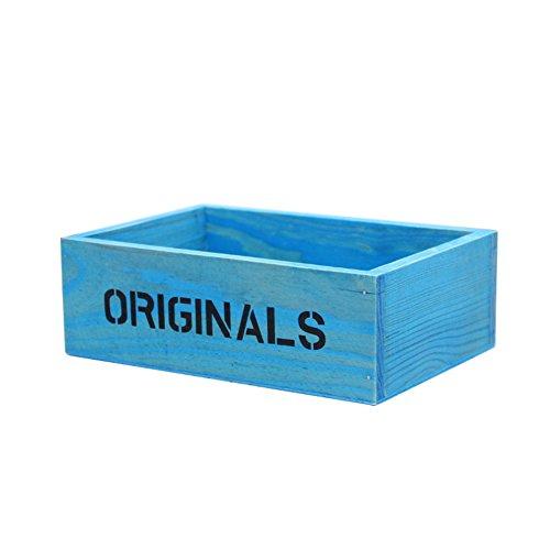 Fablcrew Boîte de rangement en bois pour plantes 19 x 13 x 6,5 cm Bleu
