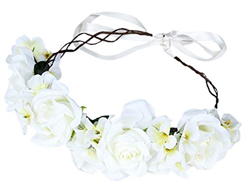 Rose Flower Crown Floral Wreath Headband Hair Wreath Hair Garland Flower Halo Floral Headpiece Boho with Ribbon Wedding Party Festival Beige by Brikuinr