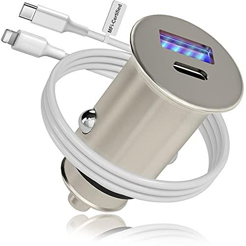 Cargador de Coche Tipo C, Metal 38W PD&QC 3.0 Dual USB Mechero Coche con LED Azul, Adecuado para i-Phone,Gala-xy y Otros Teléfonos Inteligentes y Tabletas iOS y Android,con 1 Cable