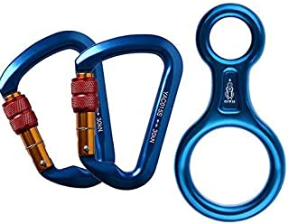 ayamaya 30KN Screwgate Locking Climbing Carabiners & Figure 8 Descender,Outdoor D-Ring Hook Rappel Device for Rappelling B...