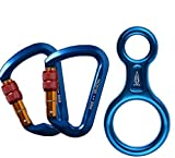 ayamaya 30KN Screwgate Locking Climbing Carabiners 2 Pack & Figure 8 Descender,Outdoor D-Ring Hook Rappel Device for Rappelling Belaying Rock Climbing (Blue(2pcs Carabiner + 1pcs Descender))