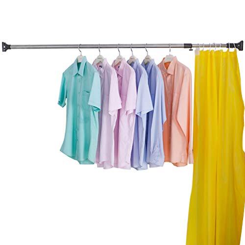 BAOYOUNI Barra de cortina de ducha cuadrada expandible para barra de cortina de ventana, barra de lavandería, percha de secado para ahorrar espacio (gris, 48.42 a 82.67 pulgadas)