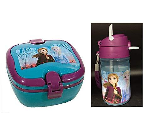 Set 1 Botella de Agua plastica Infantil con Fiambrera sandwicheras panera para niñas, cantimplora de aluminio a Prueba de Fugas sin BPA Termo 350 ml lila