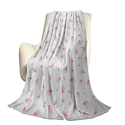 Patrón de Manta Decorativa cálida súper Suave Rosa pálido con pétalos de Rosa voladores de Sakura Cerezo japonés Decoración romántica Hermosa para el hogar A80 x L60 Pulgadas Rosa pálido Bla