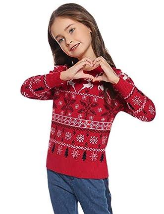 Hawiton Jersey de Navidad niña Invierno,Manga Larga suéter de Punto con Cuello Redondo,Navidad de Nieve/Ciervo/Estampado de árbol de Navidad Pull-Over Top,6-14 Años
