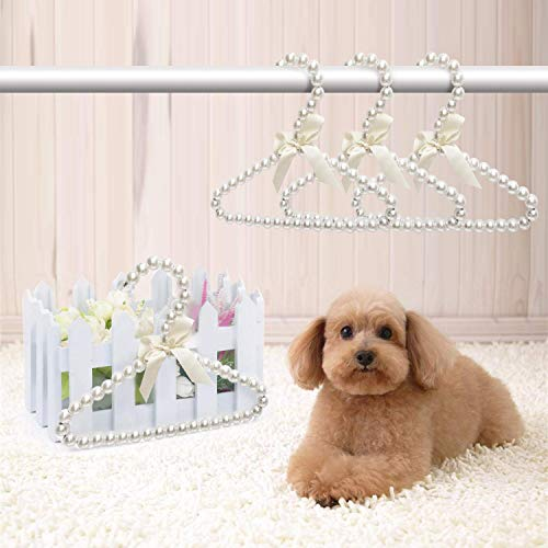 awagas 6Pcs Pet Clothes Hangers Mini Pearl Hangers Pearl Baby Hangers Faux Pearl Beaded Elegant Garment Clothes Hangers with Ribbon Bowknot for Pet Dog Cat Small Baby Kids Children White