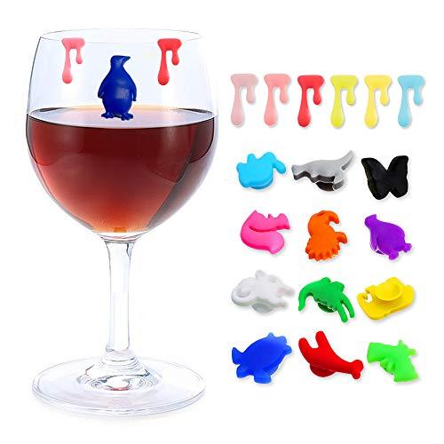Chingde Marcadores de copa de vino, 18 piezas Identificadores de copas de...