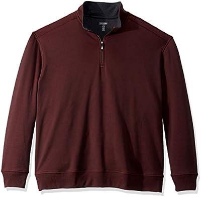 Van Heusen Men's Size Big and Tall Flex Fleece Long Sleeve Quarter Zip, red merlot, X-Large Tall from Van Heusen
