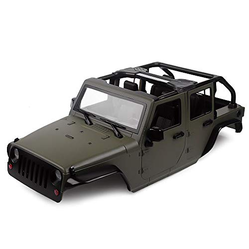 INJORA RC Carrocería Kit 313mm Distancia Entre Ejes Corpo Cuerpo Jeep Wrangler Body Car Shell para 1/10 RC Crawler Axial SCX10 90046 (Oliva)