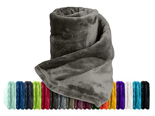 Premium-Microfaser-Flauschdecke - 17 Fantastische Farben - 3 Komfortgrößen - federleicht und kuschelweich - zu Hause und auf Reisen, 180 x 220 cm, kaffeebraun