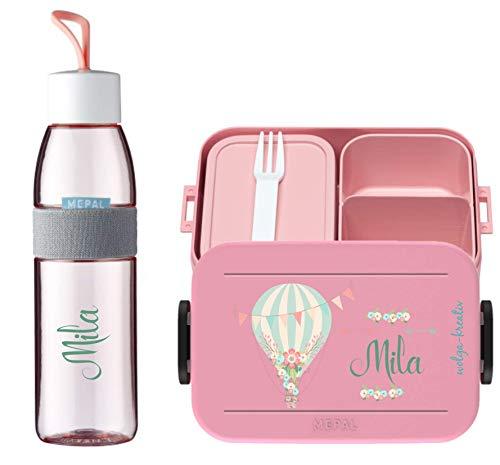 wolga-kreativ Brotdose Obsteinsatz Bento Box und Trinkflasche auslaufsicher BPA frei für Kinder Mepal Mädchen Heißluftballon personalisiert mit Namen Lunchbox Brotbox mit Fächern