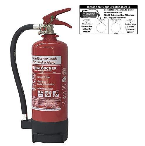 NEU OVP 2 L Schaum Feuerlöscher Fettbrand DIN EN 3 GS 8A 70B (Mit Prüfnachweis u. Jahresmarke)