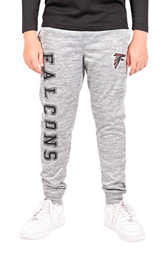 Ultra Game Boys NFL High Performance Moisture Wicking Fleece Jogger Sweatpants Atlanta Falcons, Heather Gray, 18/20