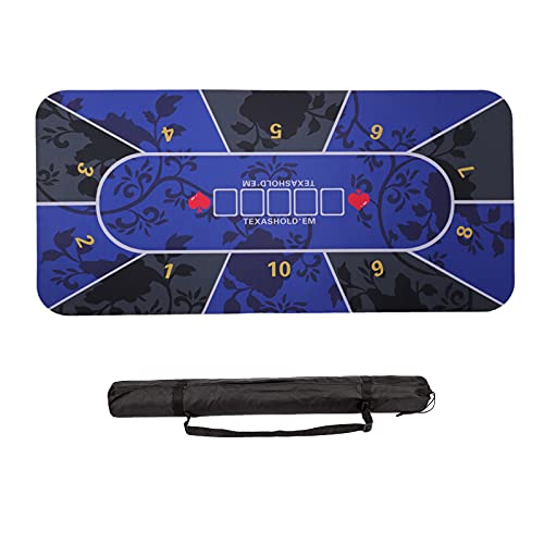 """70""""X35"""" Poker Table Top Foldable Poker Table Top Rectangular Poker Game Mat Portable Rubber Foam Poker Table Layout for 10 Players to Play Cards with Carrying Bag for Casino,Poker Games,Blackjack"""