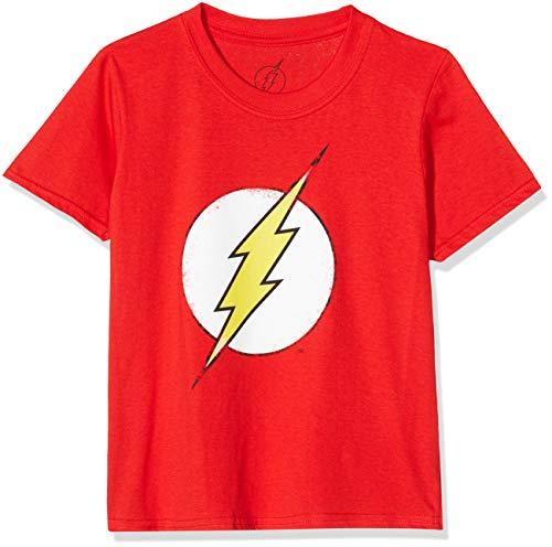 DC Comics Distressed Flash Logo Camiseta, Rojo (Red), 5-6 años (Talla del Fabricante: 5-6 Years (Small) para Niñas