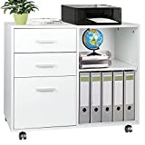 TUSY 3-Drawer Wood File Cabinet, Mobile Lateral Filing Cabinet with Rolling Wheel, Printer Stand with Open Storage Shelves for Home Office, White