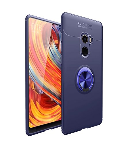 Case for Xiaomi Mi Mix 2 HXC Soft TPU Material Suitable for Automotive Magnet Brackets Invisible Ring Bracket Multi-Function Protective Shell (Blue)