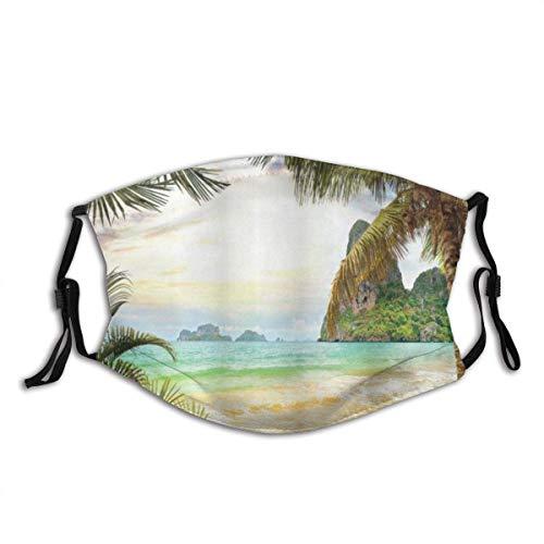 Palm Coconut Trees und Ocean Waves Mountains auf Paradise Island Beach Image Staubschutzhülle Waschbar Wiederverwendbar, Staubdicht, Radfahren
