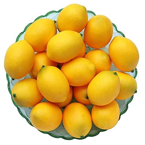 WangLaap 20Pcs Yellow Artificial Lemons Simulation Fruit Lifelike Fake Lemon Limes for Home Kitchen Table Decor Vase Fillers (3')