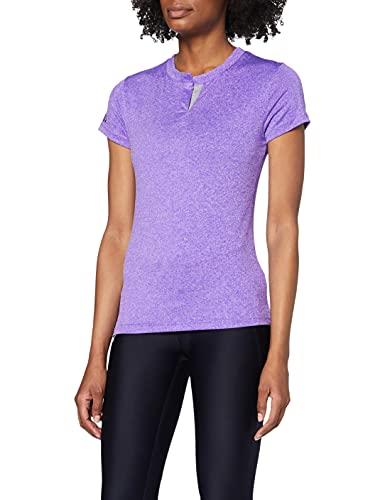 Eono Essentials - Camiseta elástica ajustada para mujer con abertura (lila, M)
