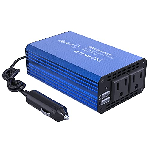 LST 12V 300W カーインバーター コンバーター 修正正弦波 DC12VをAC100Vに交換 車載充電器 USB給電2口 AC100Vコンセント電源2口 車内充電器 シガーソケット 停電、車中泊、災害等に対策