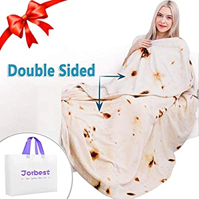 Jorbest Burritos Tortilla Blanket 2.0 Double Sided Printing for Adult and Kids, Comfort Throw Blanket, Novelty Round Food Blanket for Everyone - Diameter 60 inches, Yellow Blanket-a from Jorbest