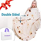 Jorbest Burritos Tortilla Blanket 2.0 Double Sided Printing for Adult and Kids, Comfort Throw Blanket, Novelty Round Food Blanket for Everyone - Diameter 60 inches, Yellow Blanket-a