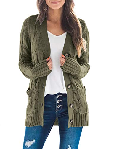 MEROKEETY Women's Long Sleeve Cable Knit Sweater Open Front Cardigan Button Loose Outerwear Army Green