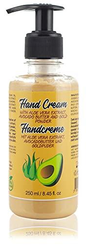 Crème Naturelle Pour les Mains Sèches Pour Hommes et Femmes. Avec Aloe Vera, Avocat, Camomille et Poudre d'Or. Sans Paraben et Sans Cruauté, 250 ml.