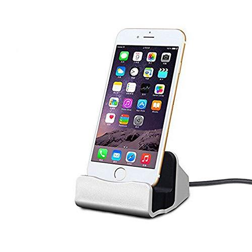 Home-Neat Docking Station per iPhone con Cavo di Ricarica Stazione Base 1m - per Smartphone Apple x, 8, 7, 6s, 6, 5, iPod (Argento)