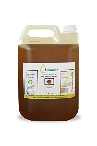 Lubrisolve Online Huile de Lin 100% Pure, Huile de Lin pressée à Froid 5 litres
