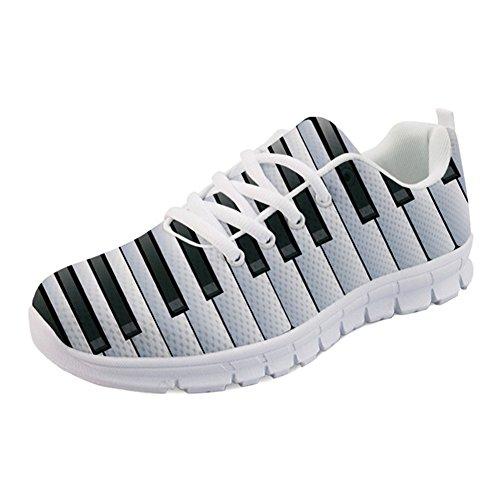 Nopersonality Sportschuhe für Damen, Laufen, Walken, Klaviertastatur, Druck, Sneaker, Weiß - Piano Keyboard Print 2 - Größe: 37 EU