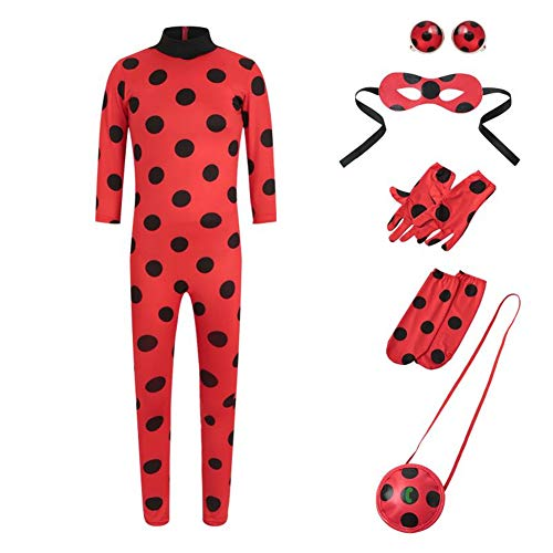 Yigoo Ladybug Mädchen Marienkäfer Kostüm Kinder Halloween Karneval Overall Party Cosplay 5er Set - Jumpsuit, Augenmaske, Tasche, Ohrclips Ohrklemmen S
