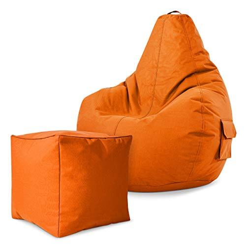 Green Bean Gaming © 2er Sitszack Set - Cozy Sitzsack mit 2 Seitentaschen + Cube Hocker - fertig befüllt - robust, waschbar, schmutzabweisend, wasserfest - für Kinder und Erwachsene - Orange