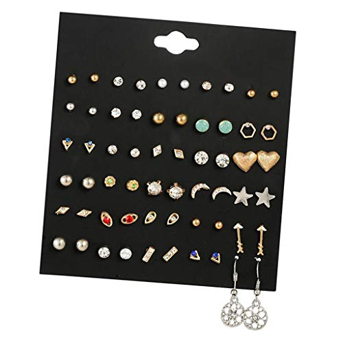 kowaku 20pairs/30 Pairs Fashion Trend Ear Studs Dangle Jewelry Set - Style01