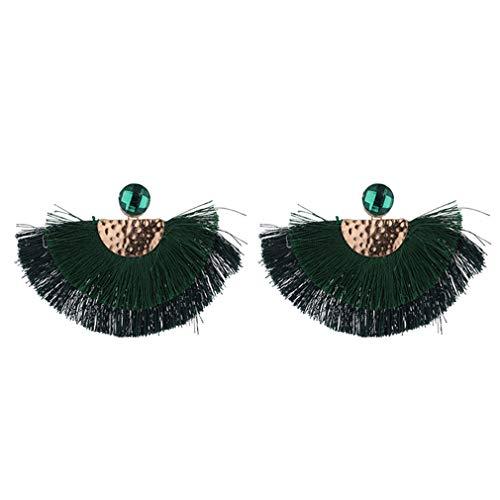 YAZILIND mujeres étnica bohemia gota colgante larga cuerda flecos orejas chica en forma de fan borla pendiente señora moda Boho joyería(verde)