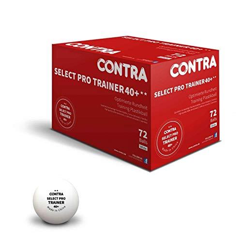 CONTRA Unisex– Erwachsene Ball Select Pro Trainer 40+ Tischtennisbälle, Weiß, 72er