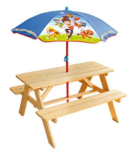 FUN HOUSE- PAT'PATROUILLE Table Pique-Nique H.53 X L.95 X P.75 cm avec Parasol H.125 X Ø 100 cm pour Enfant, 713240, Multicolor