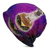 LAOLUCKY Beanie Skull Cap morbido cappello Slouchy Hip Hop Sleep Cap per uomini e donne Burger Pug In Space - Hamburger, colore: Nero Taglia Unica