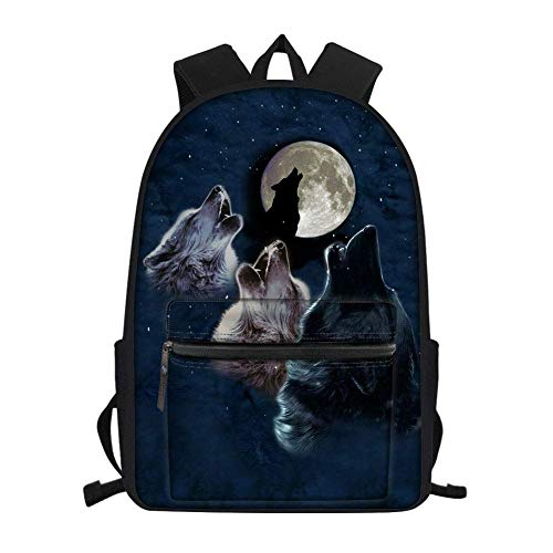 Fashion Wolf Kids Backpack with Water Bottle Holder Waterproof Bagpacks School Bag Middle School Bookbags for Boys Teens