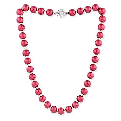 lordies Collar de perlas para mujer con cierre magnético, 57 cm, color rosa fucsia