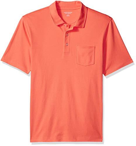 Amazon Essentials Herren-Poloshirt, reguläre Passform, mit Brusttasche, aus Jersey, Coral, US XS (EU XS)