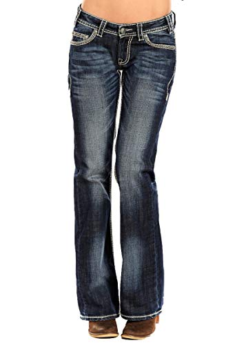 Rock & Roll Cowgirl Womens Riding Boot Cut in Dark Vintage, 26W x 30L