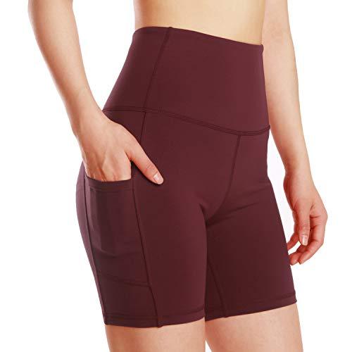 Leggings de yoga para mujer, talle alto, bolsillos para efecto faja, pantalones de entrenamiento, pantalones informales, Mujer, Pantaloni cropped, wf.Vino Tinto, large
